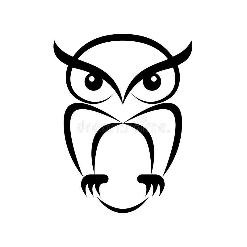 Uil grafisch zwart teken embleem stock illustratie