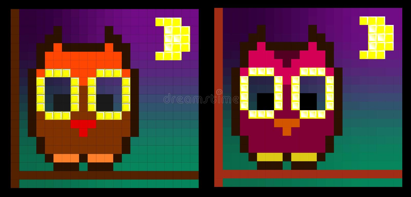 Uil in maanlicht (twee variaties) royalty-vrije stock afbeeldingen