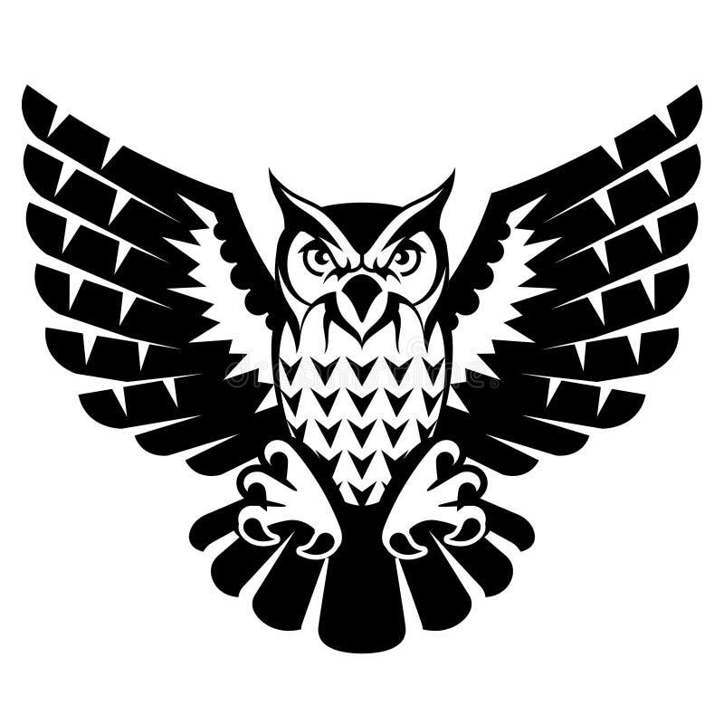 Uil met open vleugels en klauwen vector illustratie