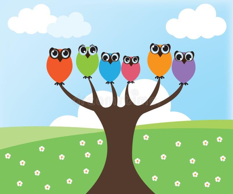 Uil op boom vector illustratie