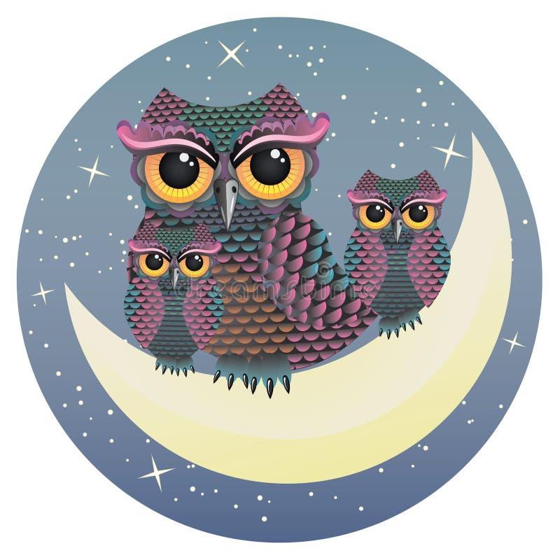 Uil op Crescent Moon royalty-vrije illustratie
