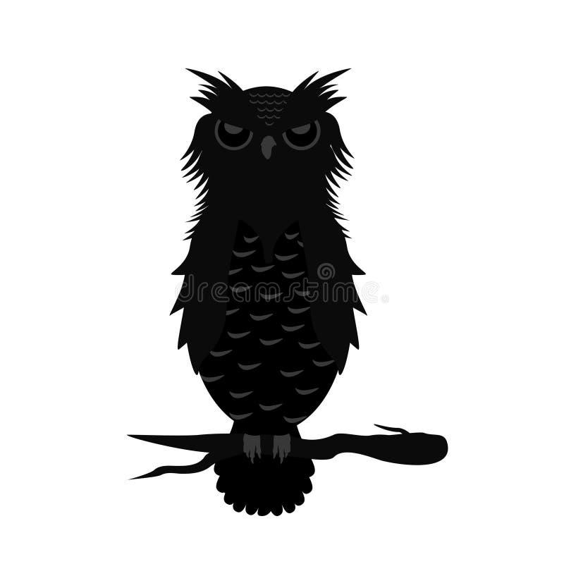 Uil op de tak Halloweens vectorillustraties stock afbeelding