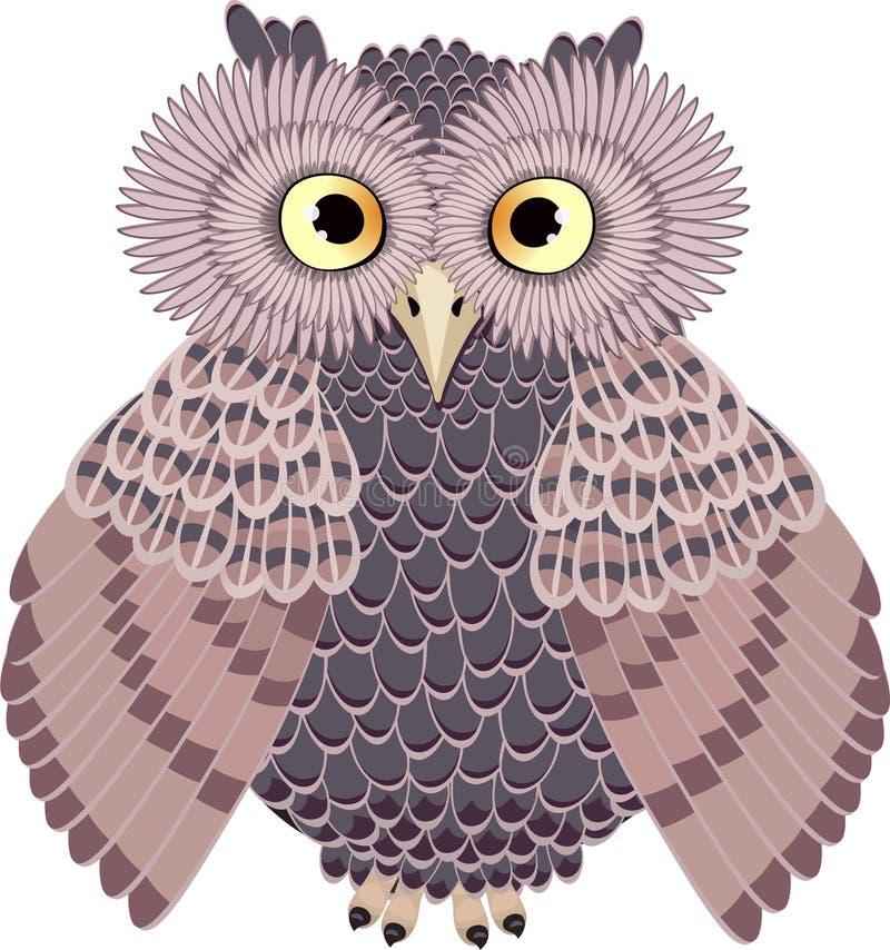 Uil, vectorillustratie bruine uil vector illustratie