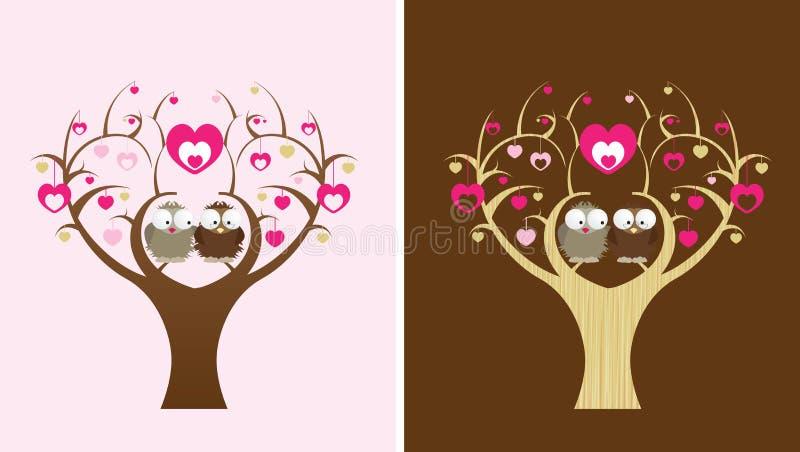 Uilen in een liefdeboom royalty-vrije illustratie