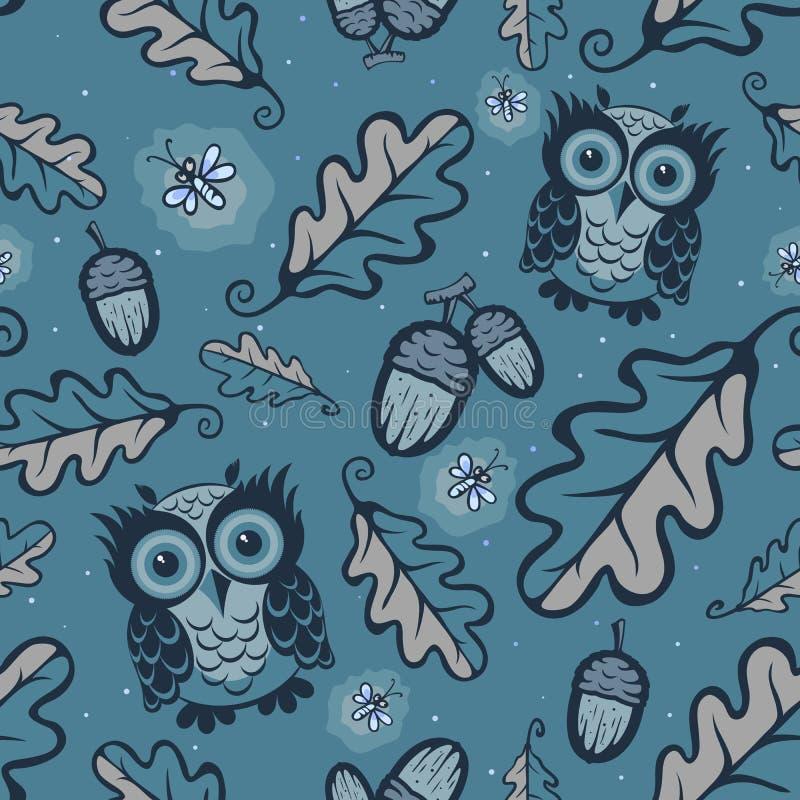 Uilen en glimwormenpatroon vector illustratie