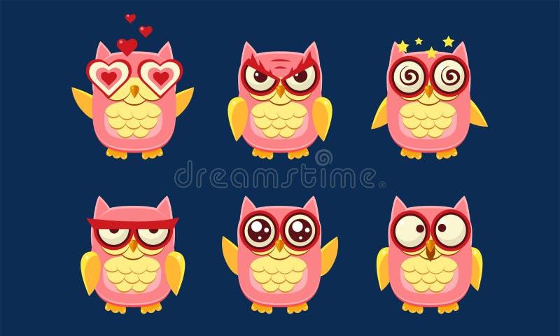 UilenSet van tekens, Leuke Vogels met Diverse Emoties Vectorillustratie royalty-vrije illustratie