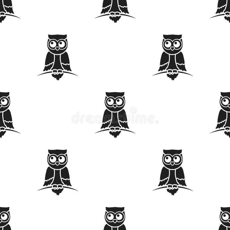 Uilpictogram in zwarte die stijl op witte achtergrond wordt geïsoleerd De voorraad vectorillustratie van het dierenpatroon stock illustratie