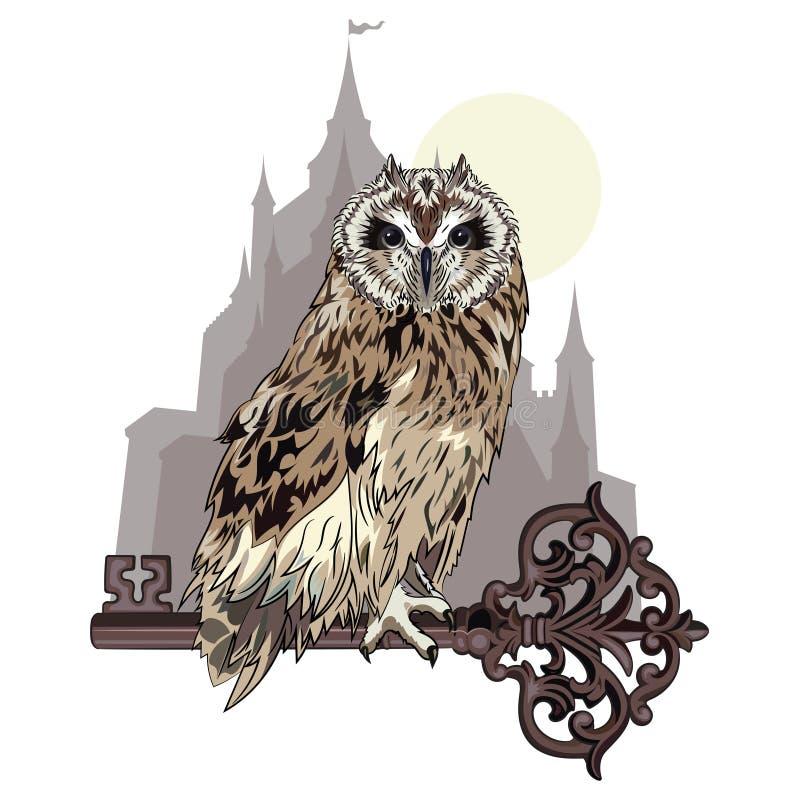 Uilzitting op een oude sleutel, op de achtergrond van het magische kasteel Een symbool van geheime kennis royalty-vrije illustratie
