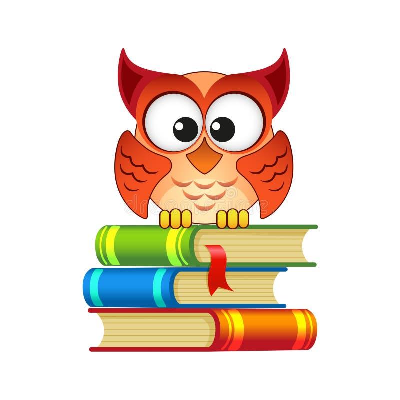 Uilzitting op een stapel van boeken royalty-vrije illustratie