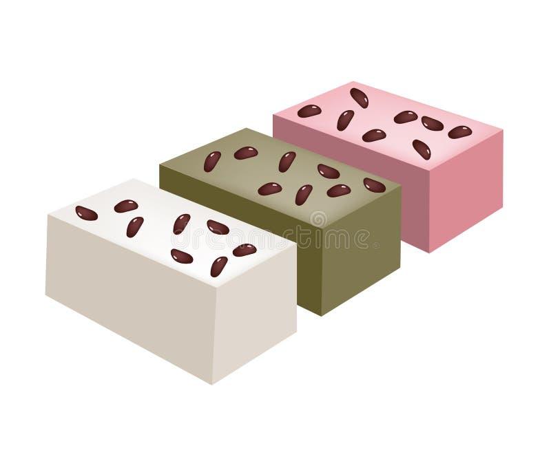 Uiro Mochi of Traditionele Japanse Gestoomde Cake vector illustratie