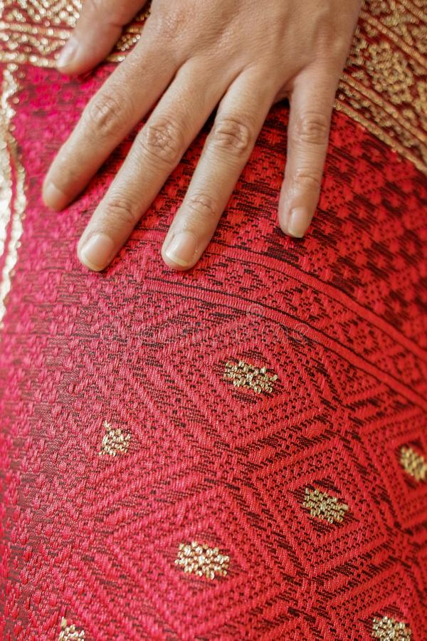 Uis Gara, tissu ethnique de Karonese photographie stock libre de droits