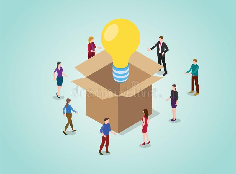 Uit het doos het denken concept voor probleem het oplossen met gloeilamp met teammensen en isometrische stijl - vector stock illustratie
