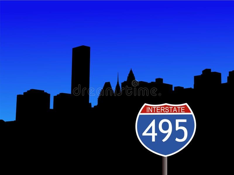 Uit het stadscentrum Manhattan stock illustratie