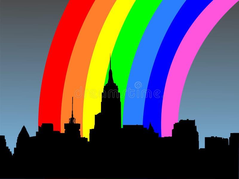 Uit het stadscentrum Manhattan en regenboog stock illustratie