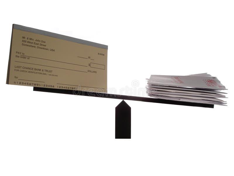 Uit zijn evenwicht gebrachte Checkbook en Rekeningen stock foto's
