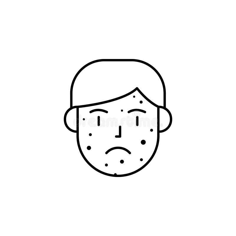 Uitbarsting, reactie, allergisch huidpictogram Element van problemen met allergieënpictogram Dun lijnpictogram voor websiteontwer vector illustratie
