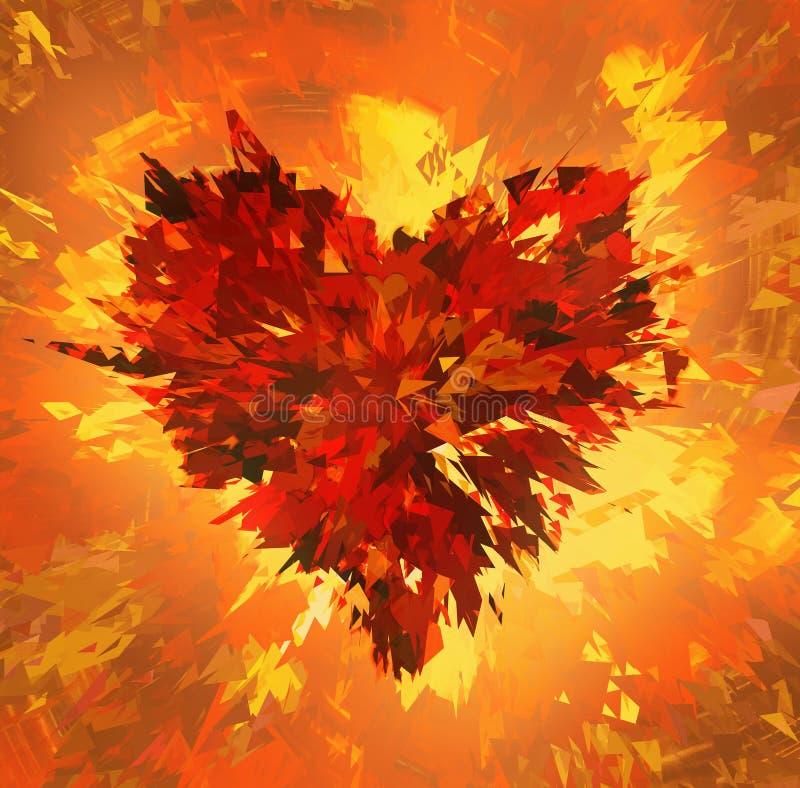 Uitbarsting van gebroken hart op brandachtergronden royalty-vrije illustratie
