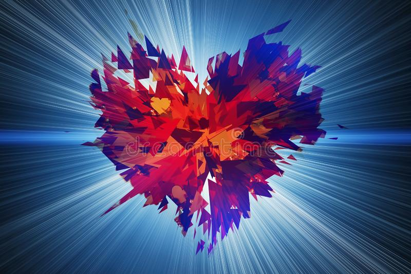 Uitbarsting van gebroken hart op flits lichte achtergronden vector illustratie