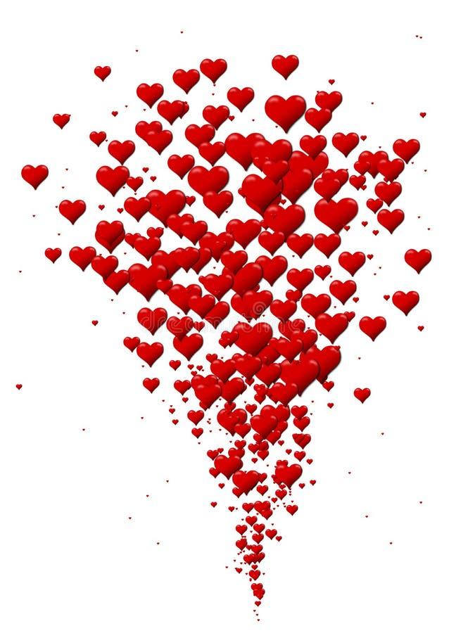 Uitbarsting van harten, hartpictogrammen voor de Dag van Valentine stock illustratie