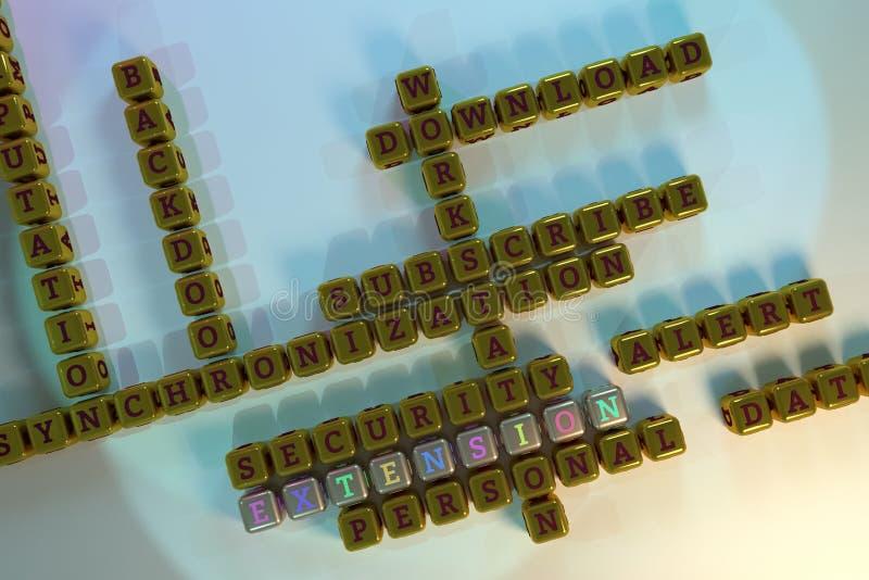 Uitbreiding, ICT-sleutelwoordkruiswoordraadsel Voor webpagina, grafisch ontwerp, textuur of achtergrond het 3d teruggeven vector illustratie
