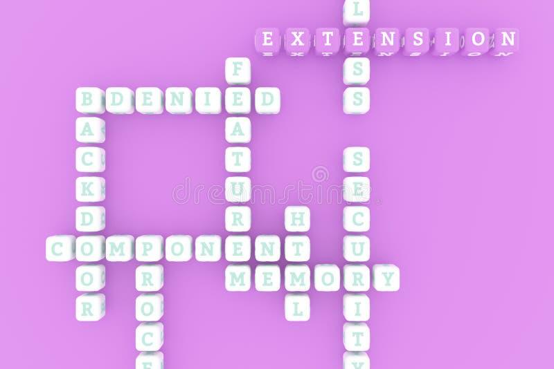 Uitbreiding, ICT-sleutelwoordkruiswoordraadsel Voor webpagina, grafisch ontwerp, textuur of achtergrond het 3d teruggeven royalty-vrije illustratie