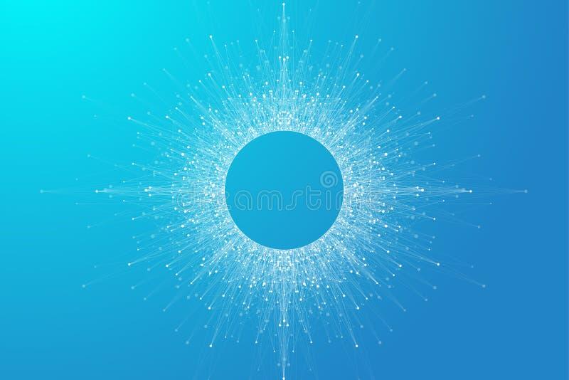 Uitbreiding van het leven Blauwe explosieachtergrond met verbonden lijn en punten, golfstroom Visualisatie Quantumtechnologie vector illustratie