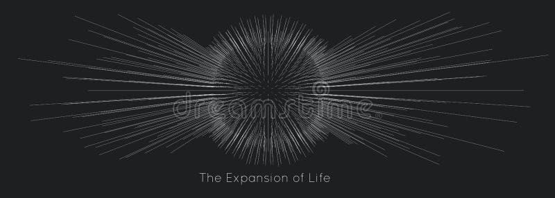 Uitbreiding van het leven De vectorachtergrond van de gebiedexplosie De kleine deeltjes streven uit centrum Vaag debrises in stra stock illustratie