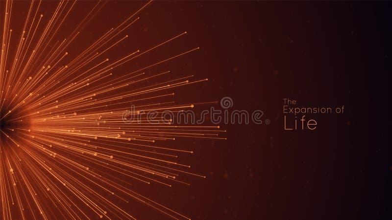 Uitbreiding van het leven De vectorachtergrond van de gebiedexplosie De kleine deeltjes streven uit centrum Vaag debrises in stra vector illustratie