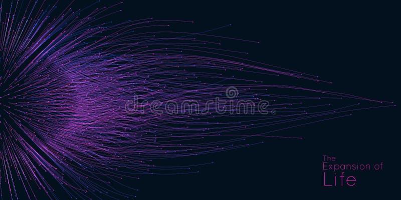 Uitbreiding van het leven De vectorachtergrond van de gebiedexplosie De kleine deeltjes streven uit centrum Vaag kleurrijk debris royalty-vrije illustratie