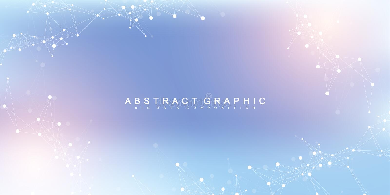 Uitbreiding van het leven Kleurrijke explosieachtergrond met verbonden lijn en punten, golfstroom Visualisatiequantum vector illustratie