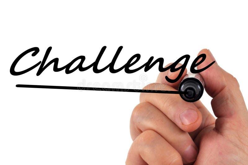 Uitdaging in zwarte wordt op een witte achtergrond wordt gevoeld geschreven die royalty-vrije illustratie