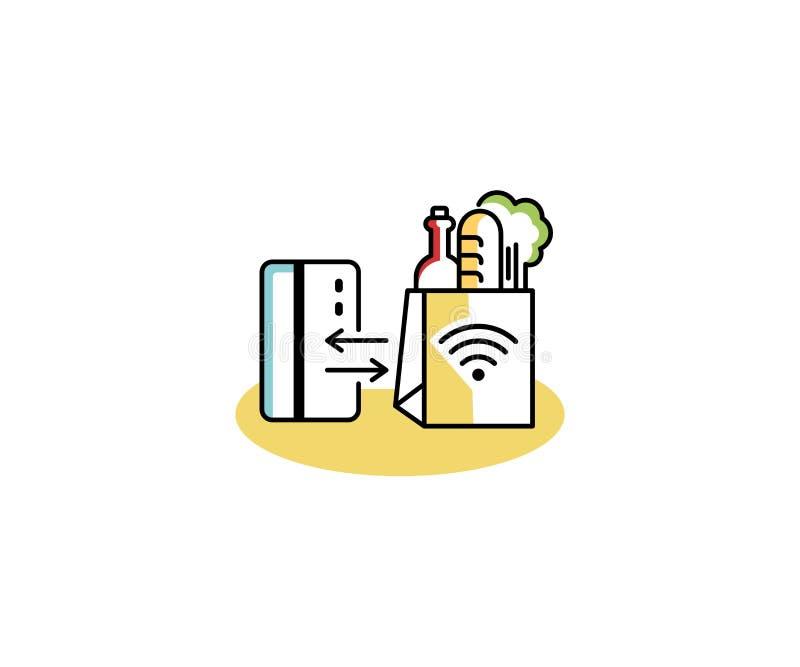 Uitdrukkelijk het embleemmalplaatje van de kippenrenwinkel Conceptenaankoop zonder contact van goederen vectorontwerp royalty-vrije illustratie