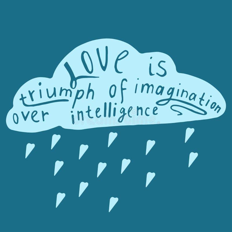 Uitdrukking over liefde op wolk stock illustratie