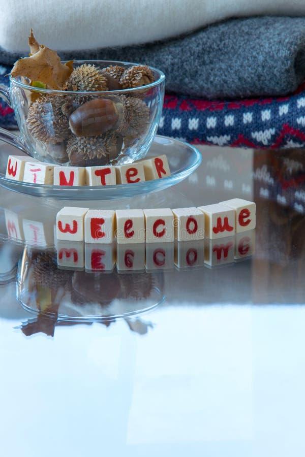 Uitdrukking van de de 'winter de Welkome 'tekst, theekop met eikels en stapel van wollen sweaters op achtergrond stock foto
