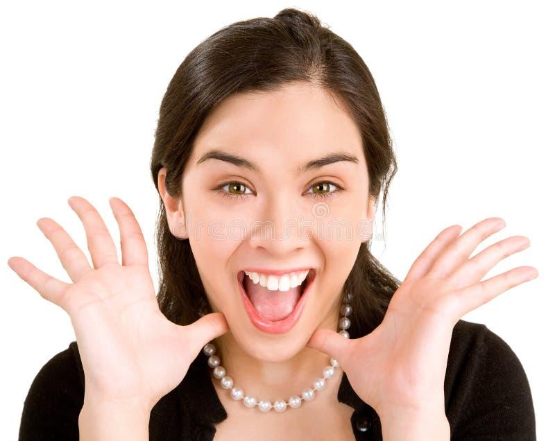 Uitdrukking van een Vrouw die Groot iets wint stock foto