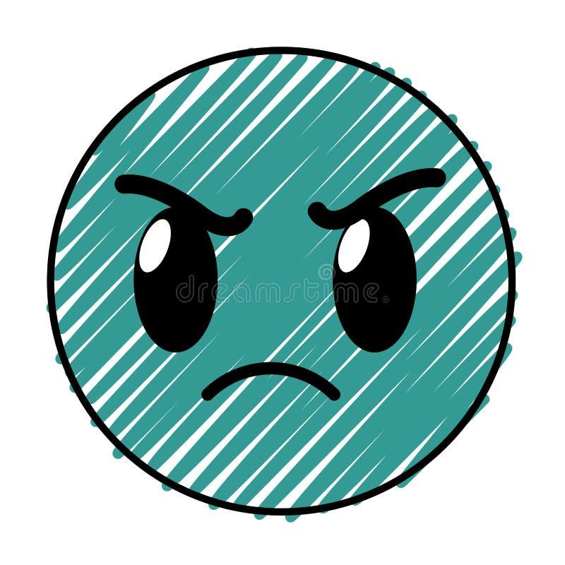 Uitdrukking van het gebaaremoji van het krabbel de boze gezicht stock illustratie