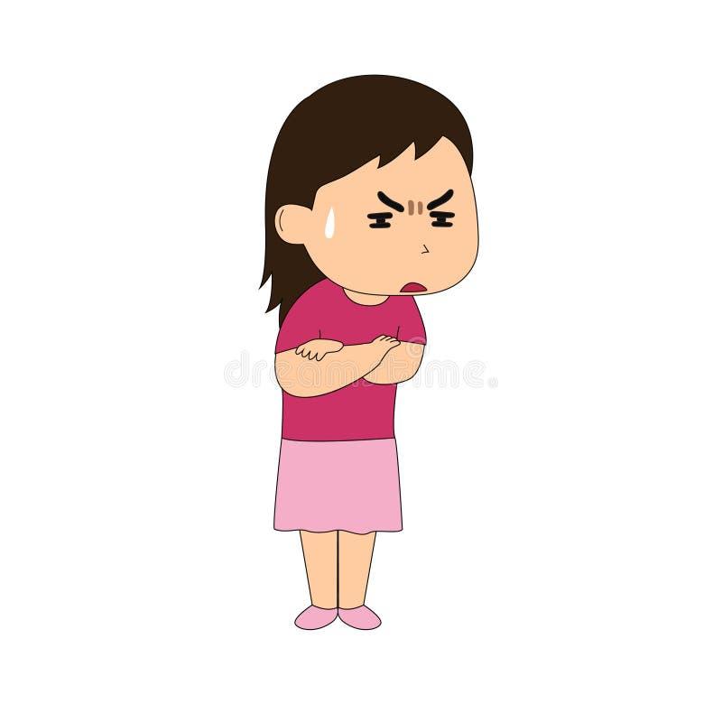Uitdrukking wanneer een meisje boos is royalty-vrije illustratie