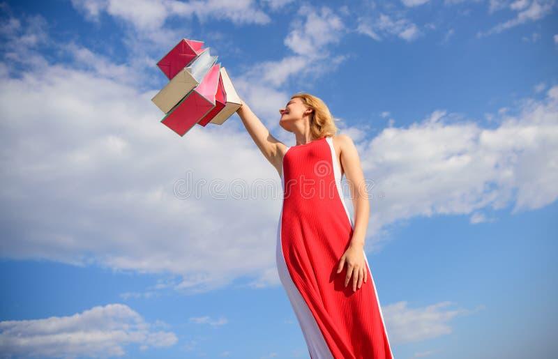 Uiteinden om de zomerverkoop met succes te winkelen Heft de vrouwen rode kleding op bos het winkelen zakken blauwe hemelachtergro stock afbeeldingen