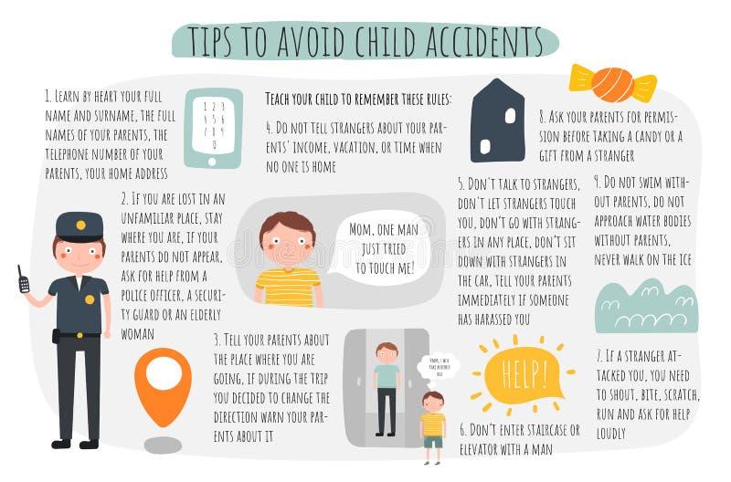 Uiteinden om infographic kindongevallen te vermijden Aanbevelingen voor ouders over kindveiligheid royalty-vrije illustratie