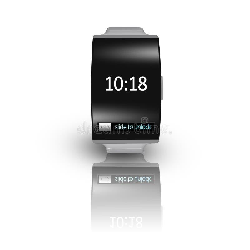 Uiterst dunne zwarte glas gebogen interface smartwatch met metaal watc vector illustratie