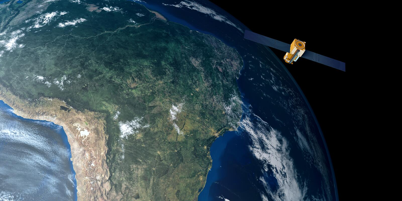 Uiterst gedetailleerd en realistisch hoge resolutie 3D beeld van een satelliet cirkelende Aarde Geschoten van ruimte royalty-vrije stock foto