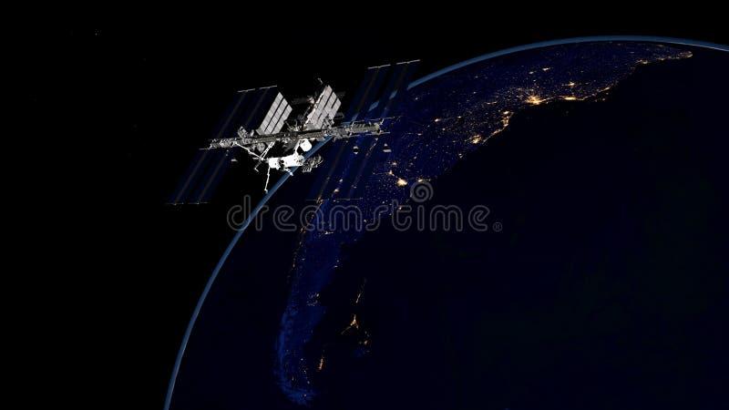 Uiterst gedetailleerd en realistisch hoge resolutie 3D beeld van ISS - Internationale Ruimtestation cirkelende Aarde Geschoten va royalty-vrije stock foto's