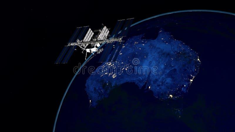 Uiterst gedetailleerde en realistische hoge resolutie 3D illustratie van Australië bij nacht Geschoten van ruimte royalty-vrije illustratie