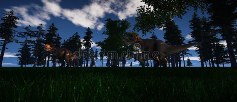 Uiterst gedetailleerde en realistische hoge resolutie 3d illustratie van een Dinosaurus t-Rex royalty-vrije illustratie