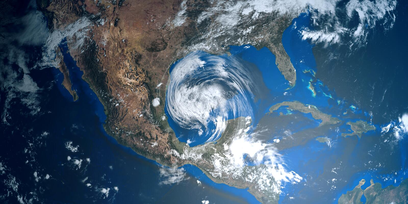 Uiterst gedetailleerde en realistische hoge resolutie 3D illustratie van een orkaan die de V.S. benaderen Geschoten van ruimte stock illustratie