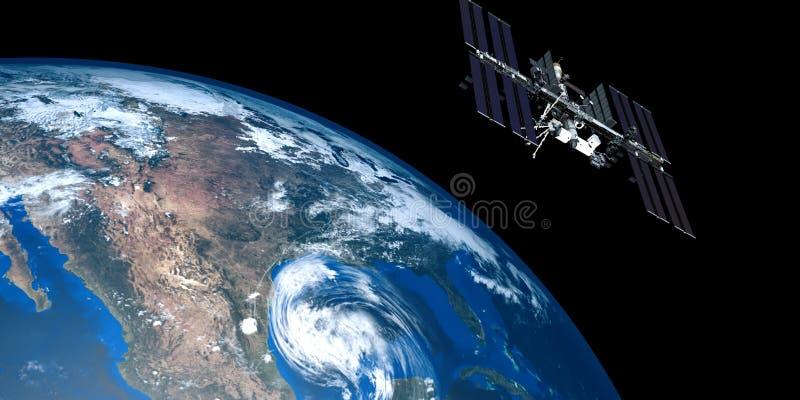 Uiterst gedetailleerde en realistische hoge resolutie 3D illustratie van een orkaan die de V.S. benaderen Geschoten van ruimte royalty-vrije illustratie