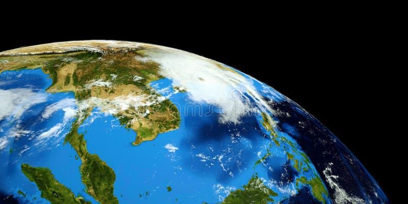 Uiterst gedetailleerde en realistische hoge resolutie 3D illustratie van een Tyfoon die vasteland China raken Geschoten van ruimt royalty-vrije illustratie