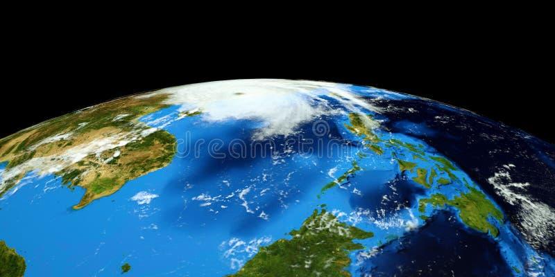 Uiterst gedetailleerde en realistische hoge resolutie 3D illustratie van een Tyfoon die vasteland China raken Geschoten van ruimt stock illustratie