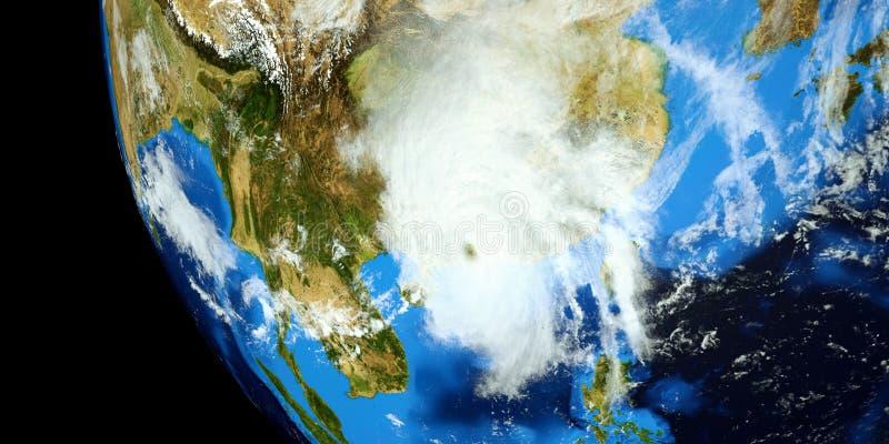 Uiterst gedetailleerde en realistische hoge resolutie 3D illustratie van een Tyfoon die vasteland China raken Geschoten van ruimt vector illustratie