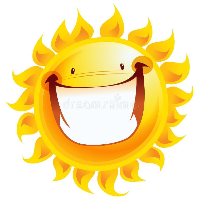Uiterst gelukkig geel glimlachend zonbeeldverhaal opgewekt karakter vector illustratie